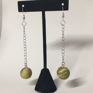 NWT Pink & Olive Camo Drop Silver Earrings